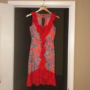 Stunning Tory Burch Silk Midi Dress: Orange/Blue